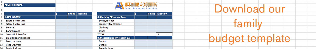 Download our helpful family budget template.